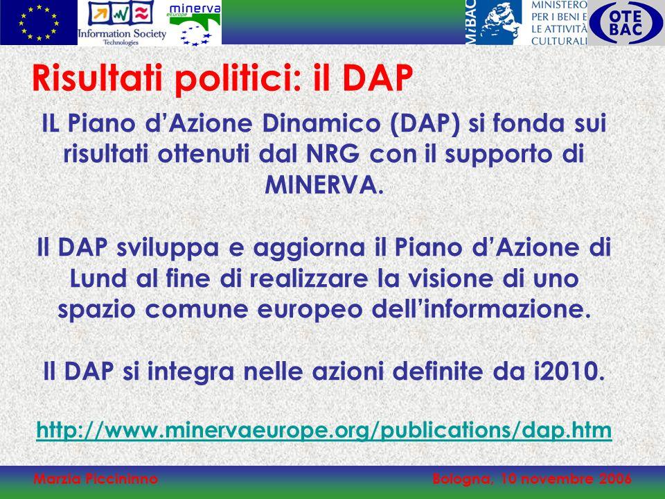 Marzia PiccininnoBologna, 10 novembre 2006 IL Piano dAzione Dinamico (DAP) si fonda sui risultati ottenuti dal NRG con il supporto di MINERVA. Il DAP