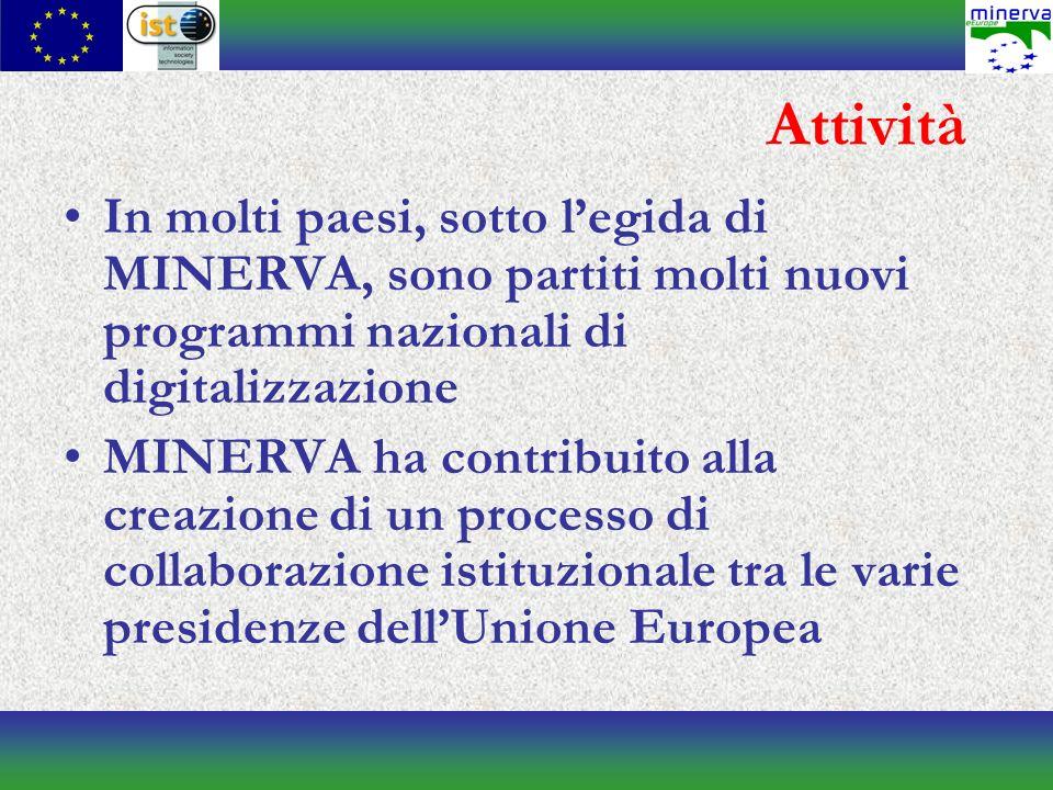 Attività In molti paesi, sotto legida di MINERVA, sono partiti molti nuovi programmi nazionali di digitalizzazione MINERVA ha contribuito alla creazione di un processo di collaborazione istituzionale tra le varie presidenze dellUnione Europea