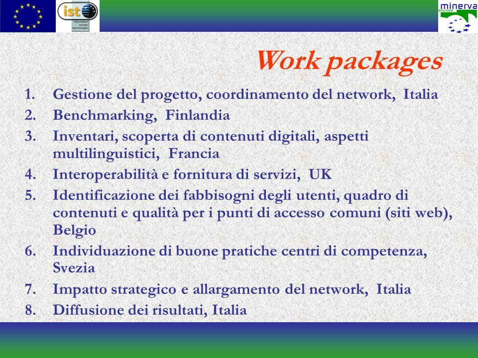 1.Gestione del progetto, coordinamento del network, Italia 2.Benchmarking, Finlandia 3.Inventari, scoperta di contenuti digitali, aspetti multilinguistici, Francia 4.Interoperabilità e fornitura di servizi, UK 5.Identificazione dei fabbisogni degli utenti, quadro di contenuti e qualità per i punti di accesso comuni (siti web), Belgio 6.Individuazione di buone pratiche centri di competenza, Svezia 7.Impatto strategico e allargamento del network, Italia 8.Diffusione dei risultati, Italia Work packages