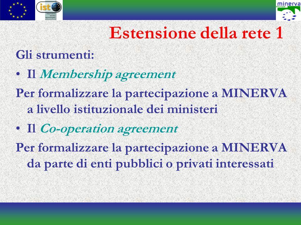 Estensione della rete 1 Gli strumenti: Il Membership agreement Per formalizzare la partecipazione a MINERVA a livello istituzionale dei ministeri Il Co-operation agreement Per formalizzare la partecipazione a MINERVA da parte di enti pubblici o privati interessati