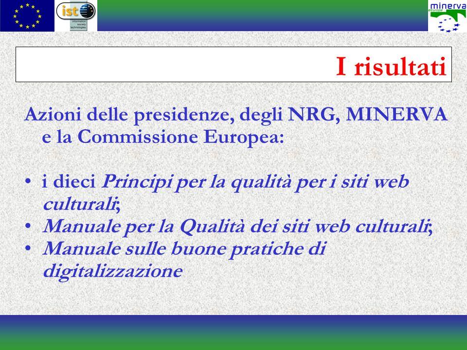 I risultati Azioni delle presidenze, degli NRG, MINERVA e la Commissione Europea: i dieci Principi per la qualità per i siti web culturali; Manuale per la Qualità dei siti web culturali; Manuale sulle buone pratiche di digitalizzazione