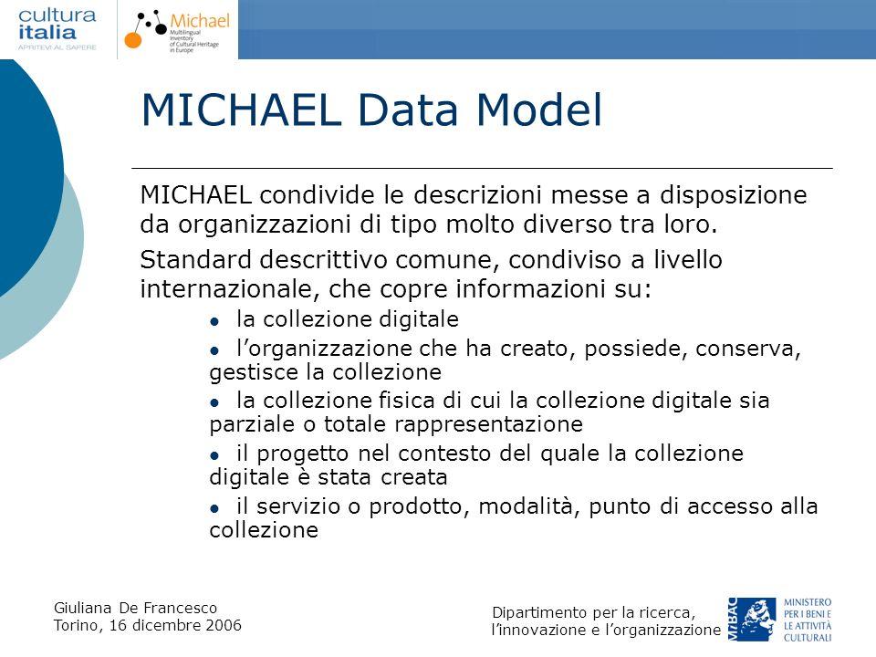 Giuliana De Francesco Torino, 16 dicembre 2006 Dipartimento per la ricerca, linnovazione e lorganizzazione MICHAEL Data Model MICHAEL condivide le des