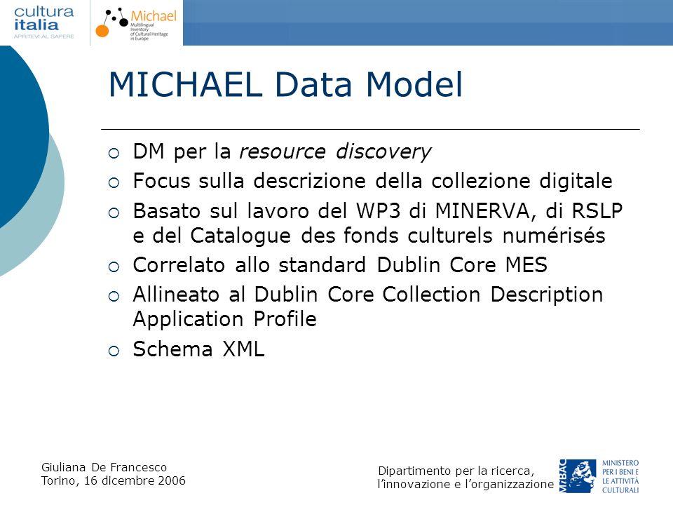 Giuliana De Francesco Torino, 16 dicembre 2006 Dipartimento per la ricerca, linnovazione e lorganizzazione MICHAEL Data Model DM per la resource disco
