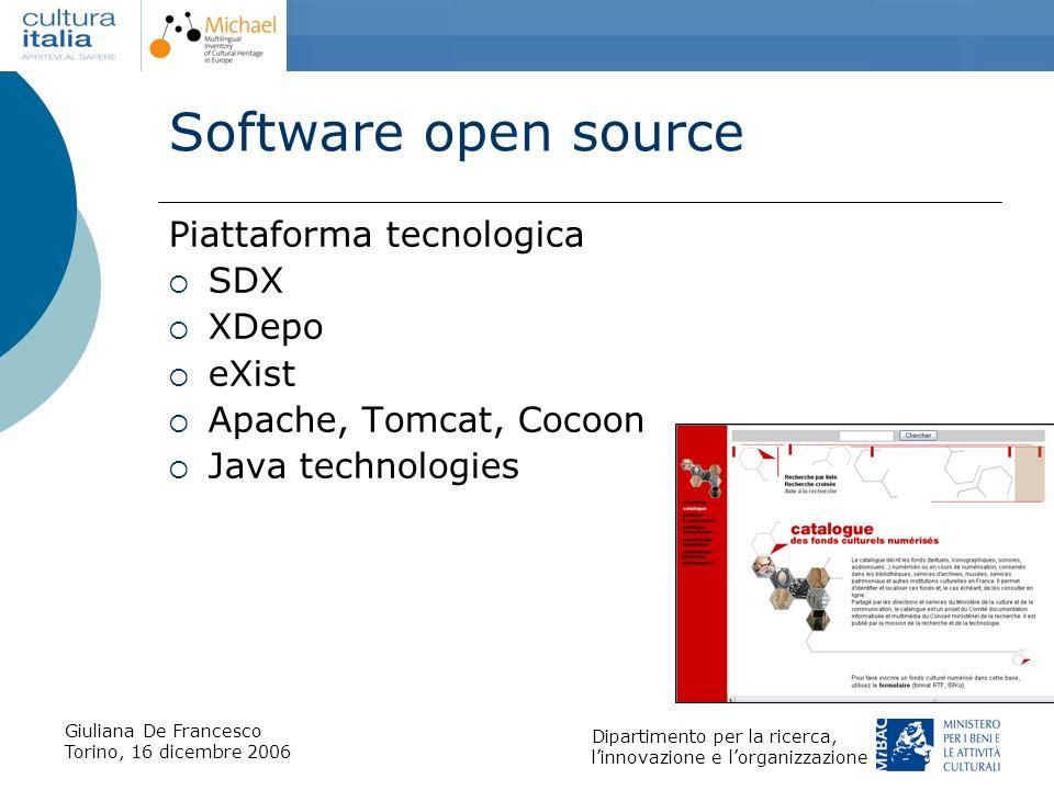 Giuliana De Francesco Torino, 16 dicembre 2006 Dipartimento per la ricerca, linnovazione e lorganizzazione Software open source Piattaforma tecnologic