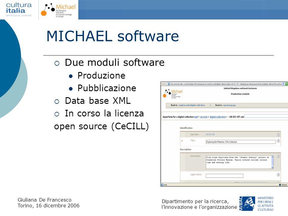 Giuliana De Francesco Torino, 16 dicembre 2006 Dipartimento per la ricerca, linnovazione e lorganizzazione MICHAEL software Due moduli software Produz