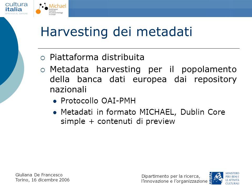 Giuliana De Francesco Torino, 16 dicembre 2006 Dipartimento per la ricerca, linnovazione e lorganizzazione Harvesting dei metadati Piattaforma distrib