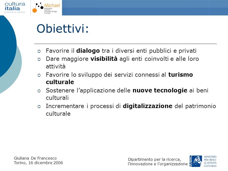 Giuliana De Francesco Torino, 16 dicembre 2006 Dipartimento per la ricerca, linnovazione e lorganizzazione Obiettivi: Favorire il dialogo tra i divers