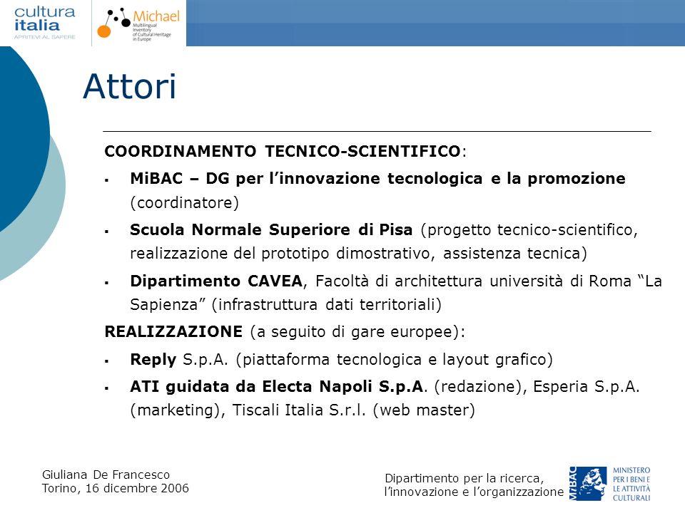Giuliana De Francesco Torino, 16 dicembre 2006 Dipartimento per la ricerca, linnovazione e lorganizzazione Attori COORDINAMENTO TECNICO-SCIENTIFICO: M