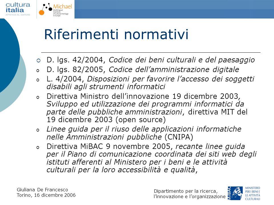 Giuliana De Francesco Torino, 16 dicembre 2006 Dipartimento per la ricerca, linnovazione e lorganizzazione Riferimenti normativi D. lgs. 42/2004, Codi