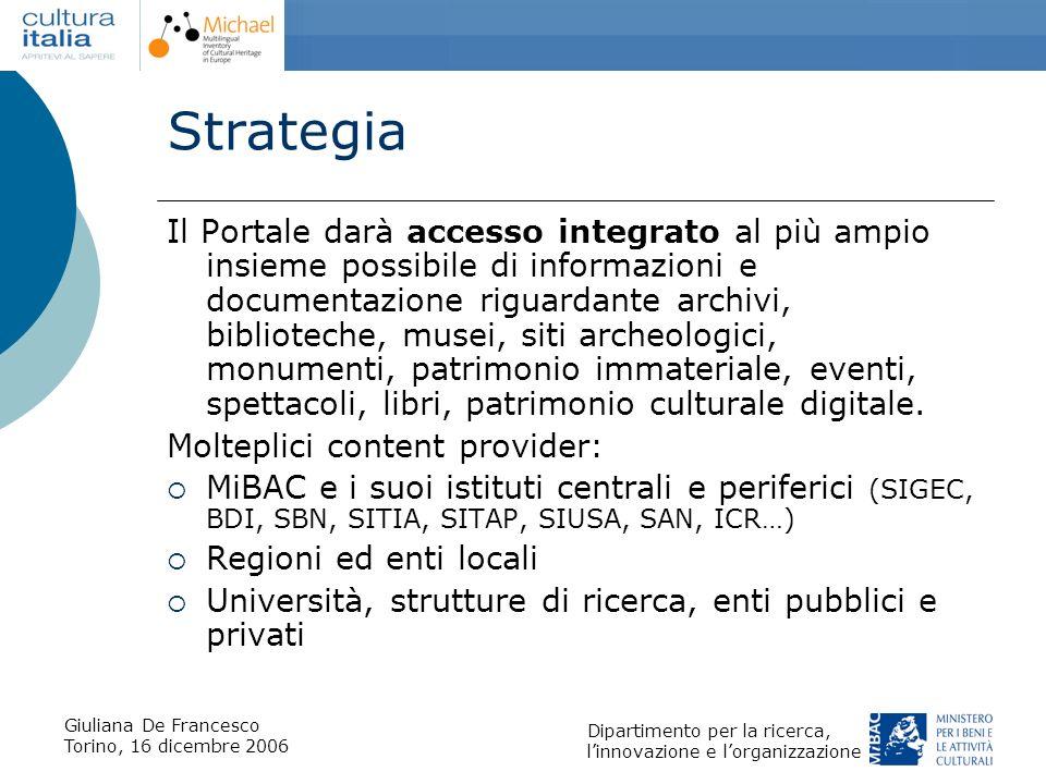Giuliana De Francesco Torino, 16 dicembre 2006 Dipartimento per la ricerca, linnovazione e lorganizzazione Strategia Il Portale darà accesso integrato