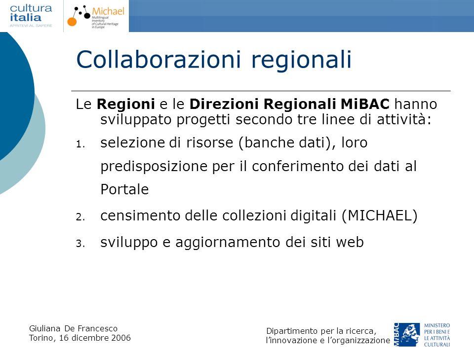 Giuliana De Francesco Torino, 16 dicembre 2006 Dipartimento per la ricerca, linnovazione e lorganizzazione Collaborazioni regionali Le Regioni e le Di