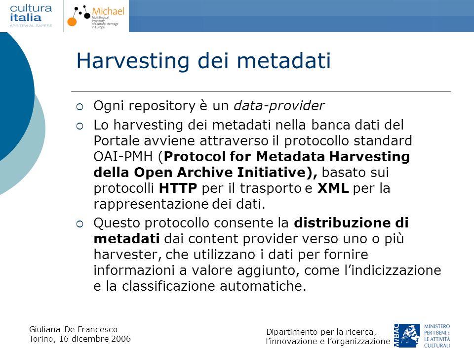 Giuliana De Francesco Torino, 16 dicembre 2006 Dipartimento per la ricerca, linnovazione e lorganizzazione Harvesting dei metadati Ogni repository è u
