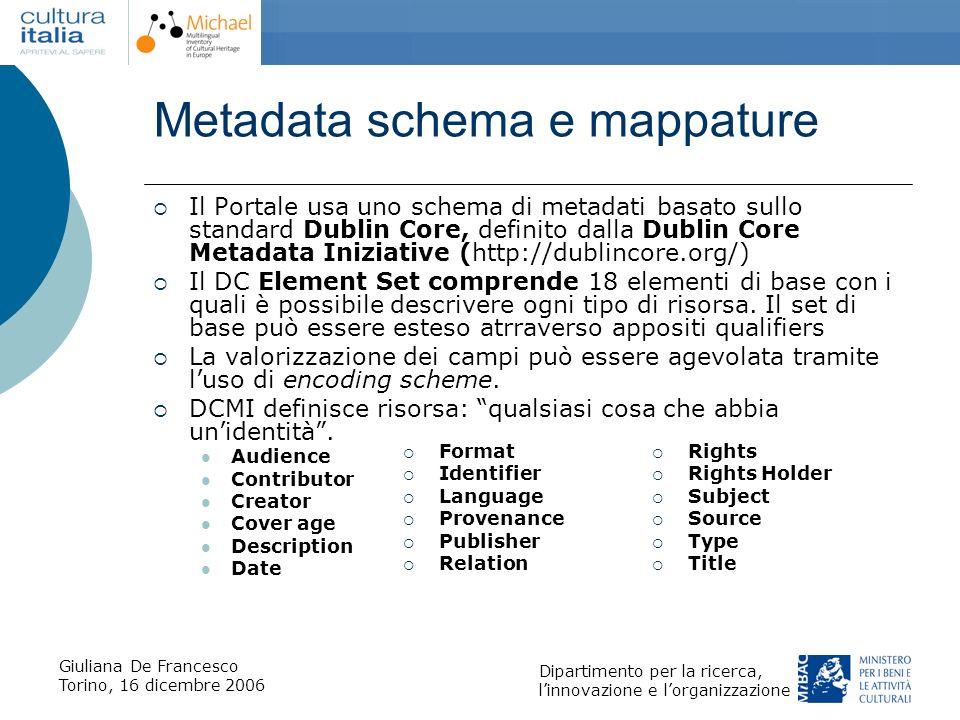 Giuliana De Francesco Torino, 16 dicembre 2006 Dipartimento per la ricerca, linnovazione e lorganizzazione Metadata schema e mappature Il Portale usa