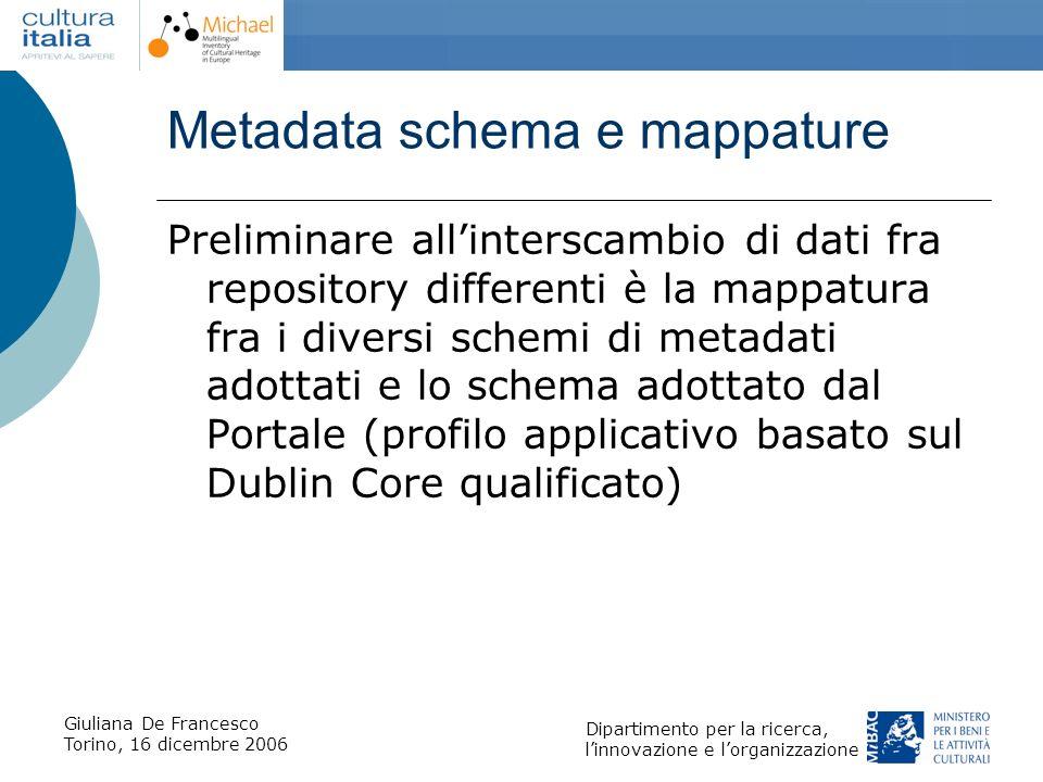 Giuliana De Francesco Torino, 16 dicembre 2006 Dipartimento per la ricerca, linnovazione e lorganizzazione Metadata schema e mappature Preliminare all