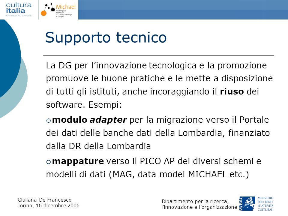 Giuliana De Francesco Torino, 16 dicembre 2006 Dipartimento per la ricerca, linnovazione e lorganizzazione Supporto tecnico La DG per linnovazione tec