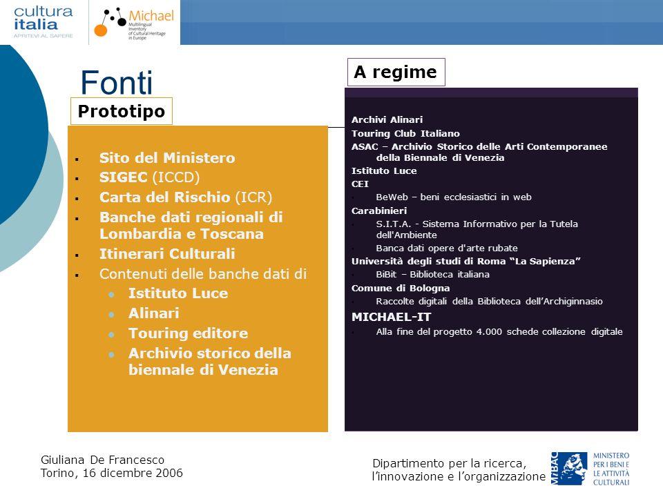 Giuliana De Francesco Torino, 16 dicembre 2006 Dipartimento per la ricerca, linnovazione e lorganizzazione Fonti Sito del Ministero SIGEC (ICCD) Carta