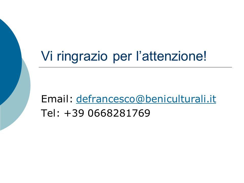 Vi ringrazio per lattenzione! Email: defrancesco@beniculturali.itdefrancesco@beniculturali.it Tel: +39 0668281769