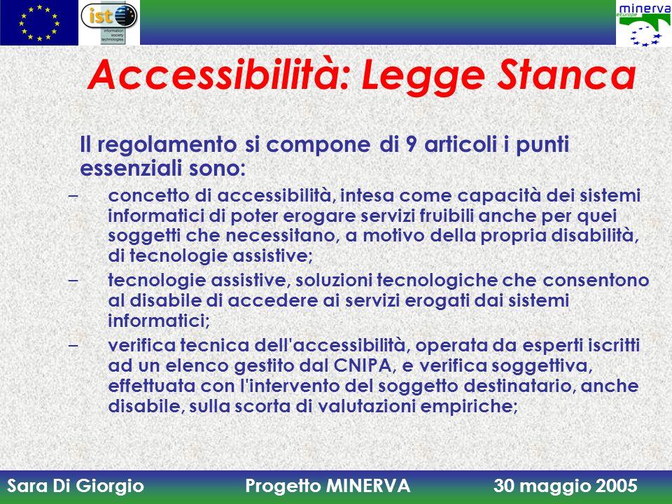 Sara Di Giorgio Progetto MINERVA 30 maggio 2005 Accessibilità: Legge Stanca Il regolamento si compone di 9 articoli i punti essenziali sono: – concett
