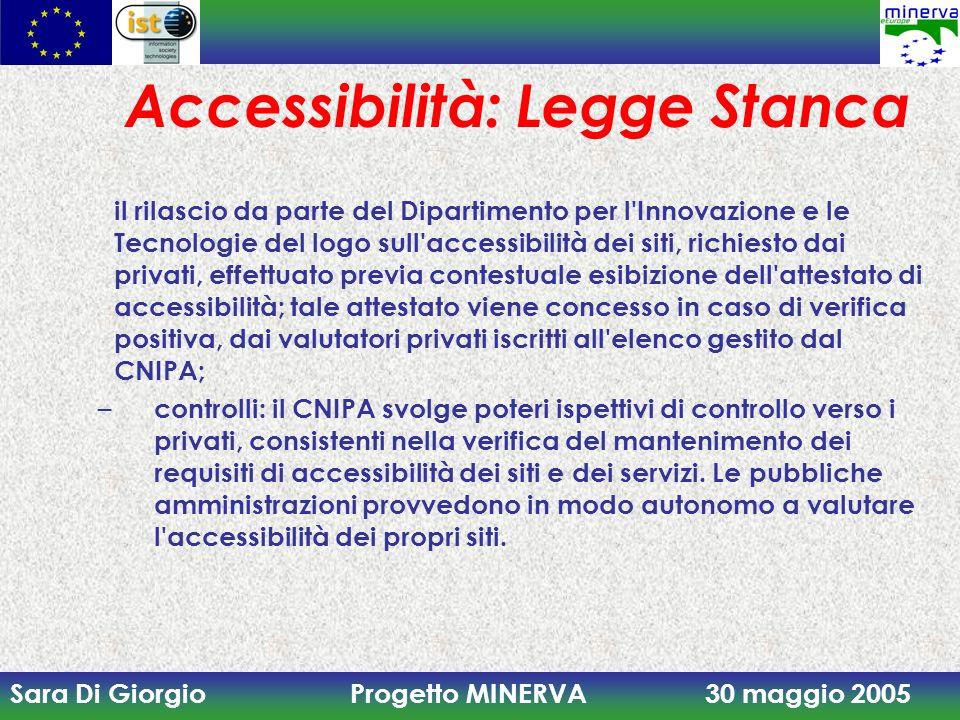 Sara Di Giorgio Progetto MINERVA 30 maggio 2005 Accessibilità: Legge Stanca il rilascio da parte del Dipartimento per l'Innovazione e le Tecnologie de