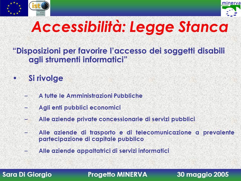 Sara Di Giorgio Progetto MINERVA 30 maggio 2005 Accessibilità: Legge Stanca Disposizioni per favorire laccesso dei soggetti disabili agli strumenti in