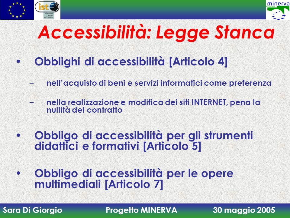 Sara Di Giorgio Progetto MINERVA 30 maggio 2005 Accessibilità: Legge Stanca Obblighi di accessibilità [Articolo 4] – nellacquisto di beni e servizi in