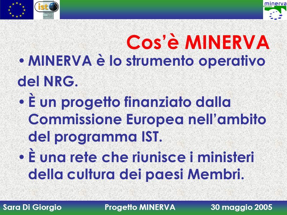 Sara Di Giorgio Progetto MINERVA 30 maggio 2005 Cosè MINERVA MINERVA è lo strumento operativo del NRG. È un progetto finanziato dalla Commissione Euro
