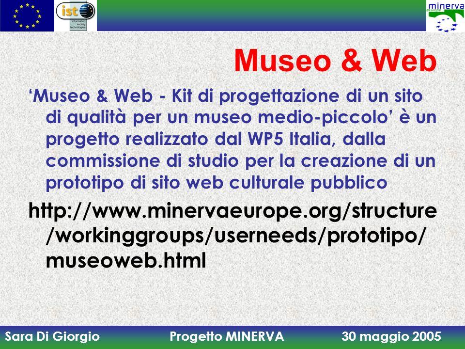 Sara Di Giorgio Progetto MINERVA 30 maggio 2005 Museo & Web Museo & Web - Kit di progettazione di un sito di qualità per un museo medio-piccolo è un p
