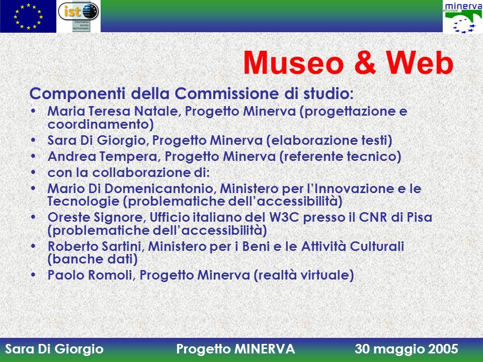 Sara Di Giorgio Progetto MINERVA 30 maggio 2005 Museo & Web Componenti della Commissione di studio: Maria Teresa Natale, Progetto Minerva (progettazio