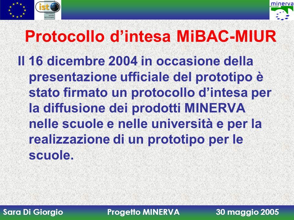 Sara Di Giorgio Progetto MINERVA 30 maggio 2005 Protocollo dintesa MiBAC-MIUR Il 16 dicembre 2004 in occasione della presentazione ufficiale del proto