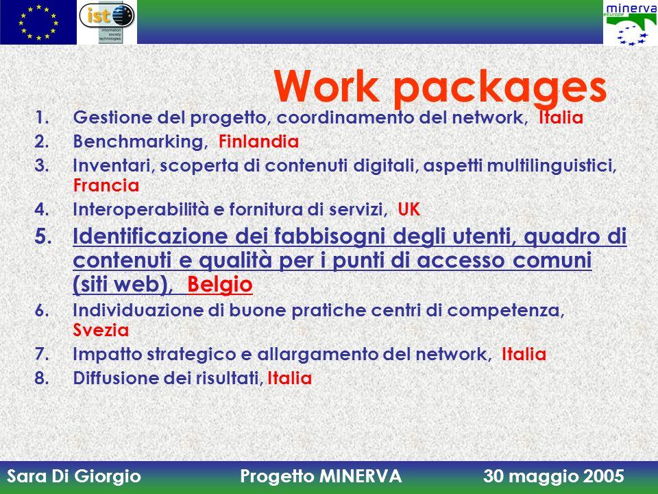 Sara Di Giorgio Progetto MINERVA 30 maggio 2005 1.Gestione del progetto, coordinamento del network, Italia 2.Benchmarking, Finlandia 3.Inventari, scop