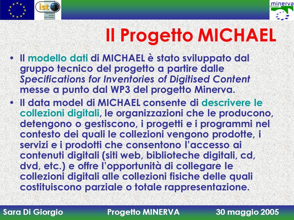 Sara Di Giorgio Progetto MINERVA 30 maggio 2005 Il Progetto MICHAEL Il modello dati di MICHAEL è stato sviluppato dal gruppo tecnico del progetto a pa