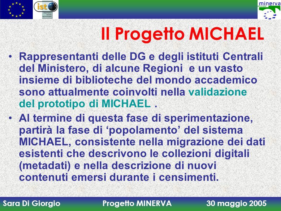 Sara Di Giorgio Progetto MINERVA 30 maggio 2005 Il Progetto MICHAEL Rappresentanti delle DG e degli istituti Centrali del Ministero, di alcune Regioni