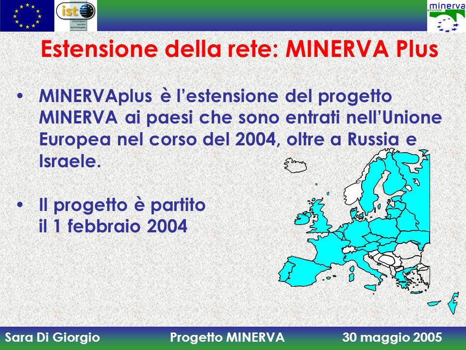 Sara Di Giorgio Progetto MINERVA 30 maggio 2005 Estensione della rete: MINERVA Plus MINERVAplus è lestensione del progetto MINERVA ai paesi che sono e