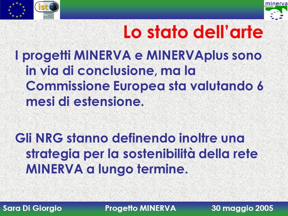 Sara Di Giorgio Progetto MINERVA 30 maggio 2005 Lo stato dellarte I progetti MINERVA e MINERVAplus sono in via di conclusione, ma la Commissione Europ