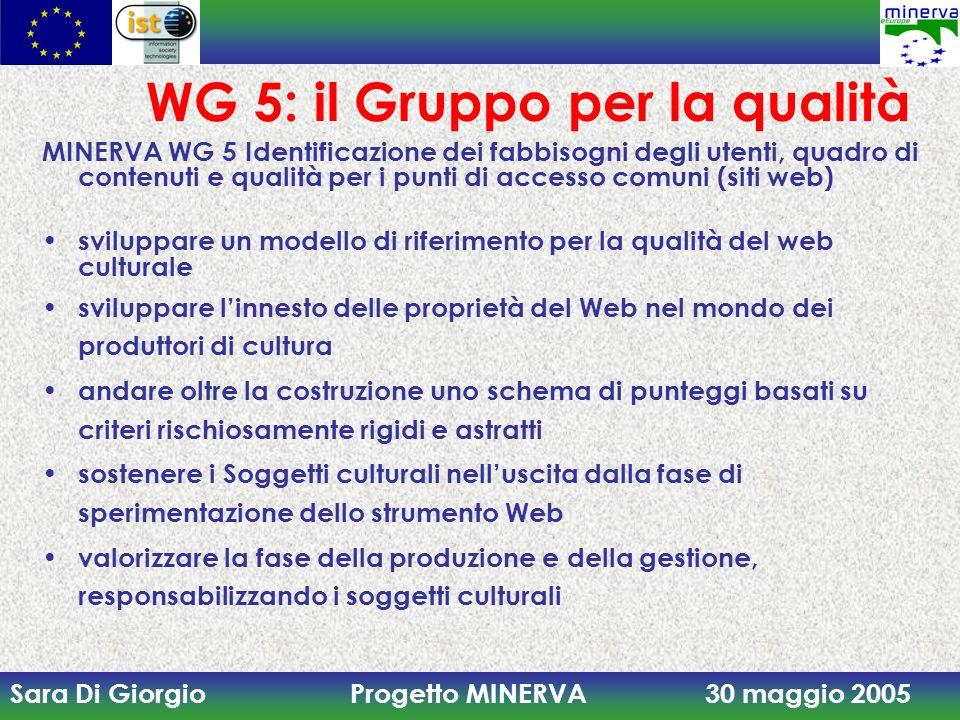 Sara Di Giorgio Progetto MINERVA 30 maggio 2005 WG 5: il Gruppo per la qualità MINERVA WG 5 Identificazione dei fabbisogni degli utenti, quadro di con