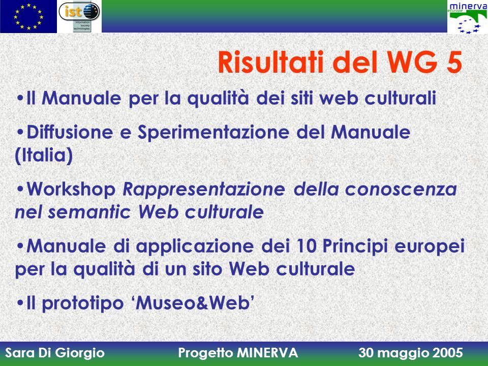 Sara Di Giorgio Progetto MINERVA 30 maggio 2005 Manuale per la qualità dei siti web culturali Presentato alla Conferenza di Parma (21 Novembre 2003) Sperimentazione con circa 30 casi di studio In pubblicazione la seconda edizione italiana (giugno 2005)