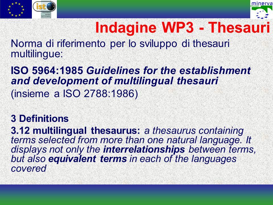Indagine WP3 - Thesauri Norma di riferimento per lo sviluppo di thesauri multilingue: ISO 5964:1985 Guidelines for the establishment and development o