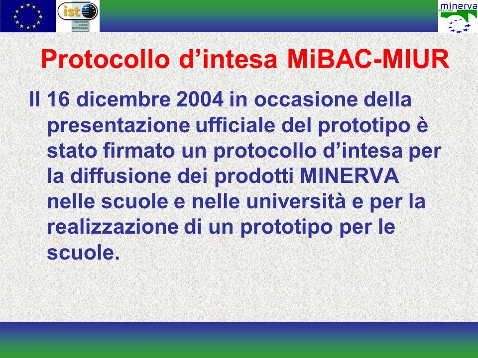 Protocollo dintesa MiBAC-MIUR Il 16 dicembre 2004 in occasione della presentazione ufficiale del prototipo è stato firmato un protocollo dintesa per la diffusione dei prodotti MINERVA nelle scuole e nelle università e per la realizzazione di un prototipo per le scuole.