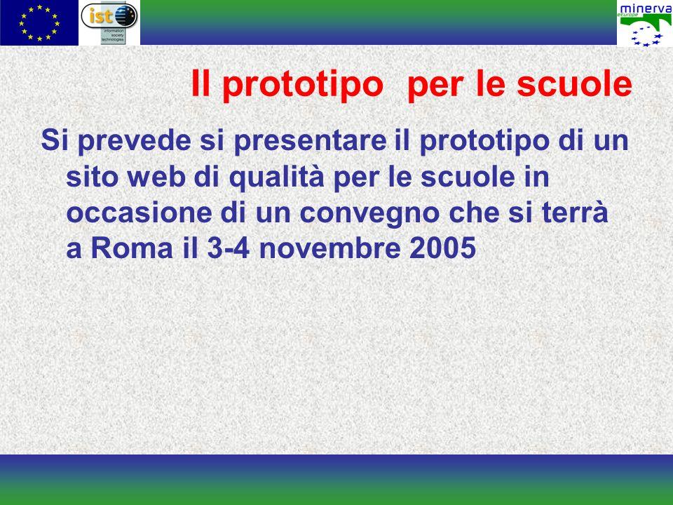 Il prototipo per le scuole Si prevede si presentare il prototipo di un sito web di qualità per le scuole in occasione di un convegno che si terrà a Roma il 3-4 novembre 2005