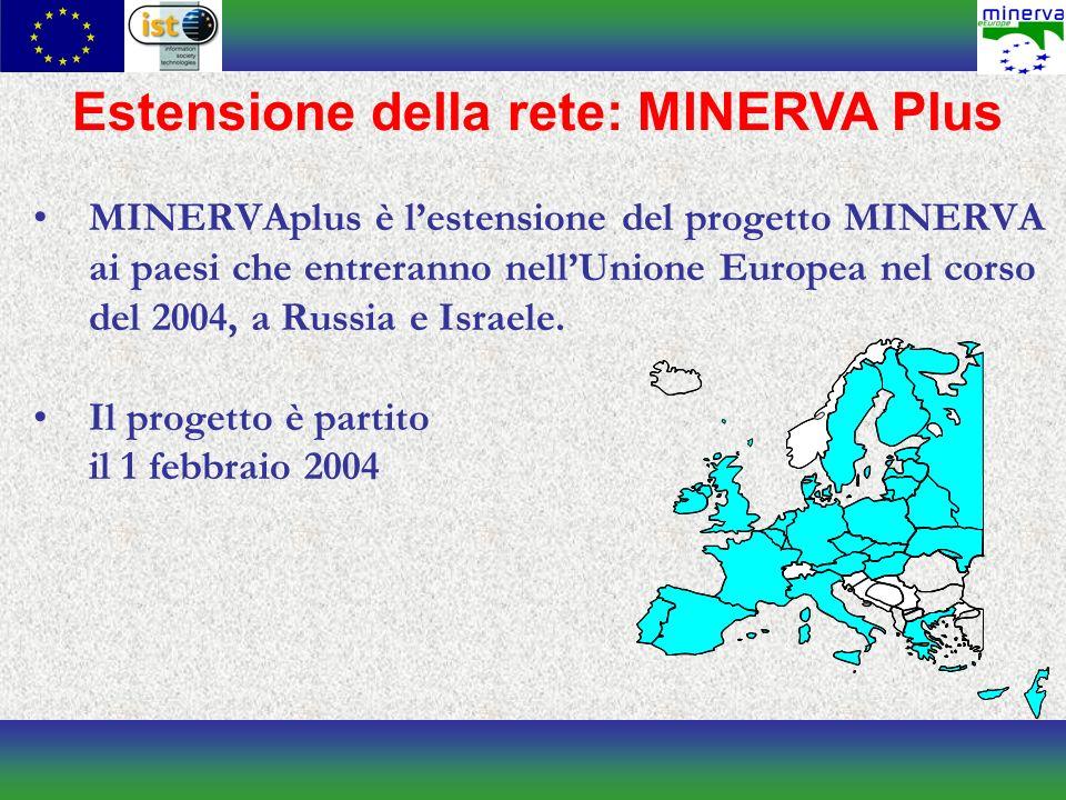 Estensione della rete: MINERVA Plus MINERVAplus è lestensione del progetto MINERVA ai paesi che entreranno nellUnione Europea nel corso del 2004, a Russia e Israele.