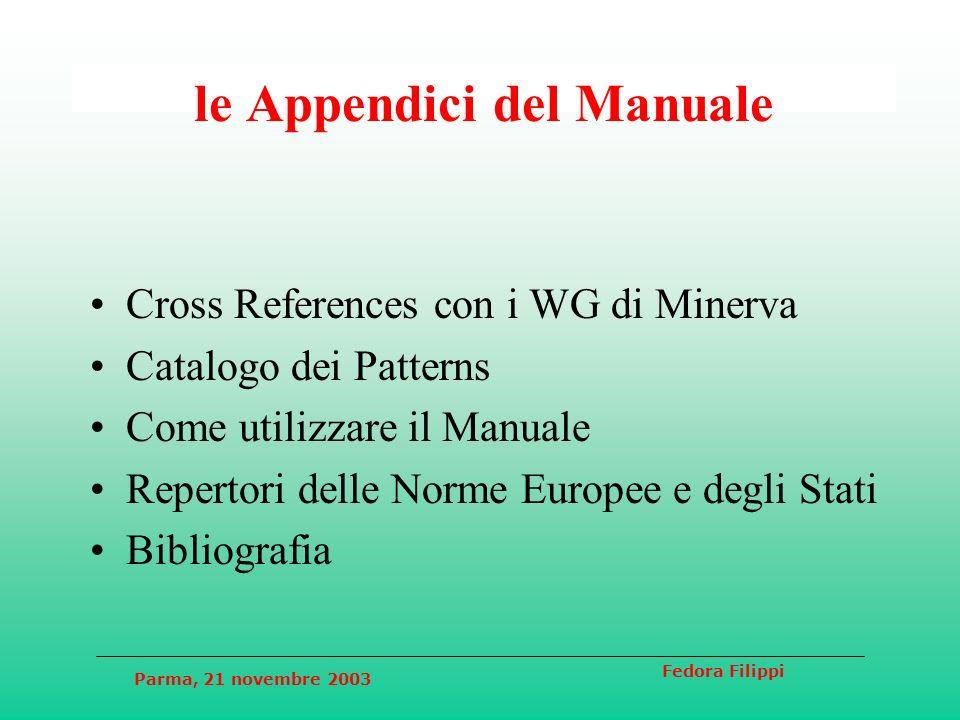 Parma, 21 novembre 2003 Fedora Filippi Capitolo 1 - Definizioni Soggetto Culturale (identità, categorie, obiettivi) Applicazione Web Culturale (obiettivi) Utente (necessità, percorsi)