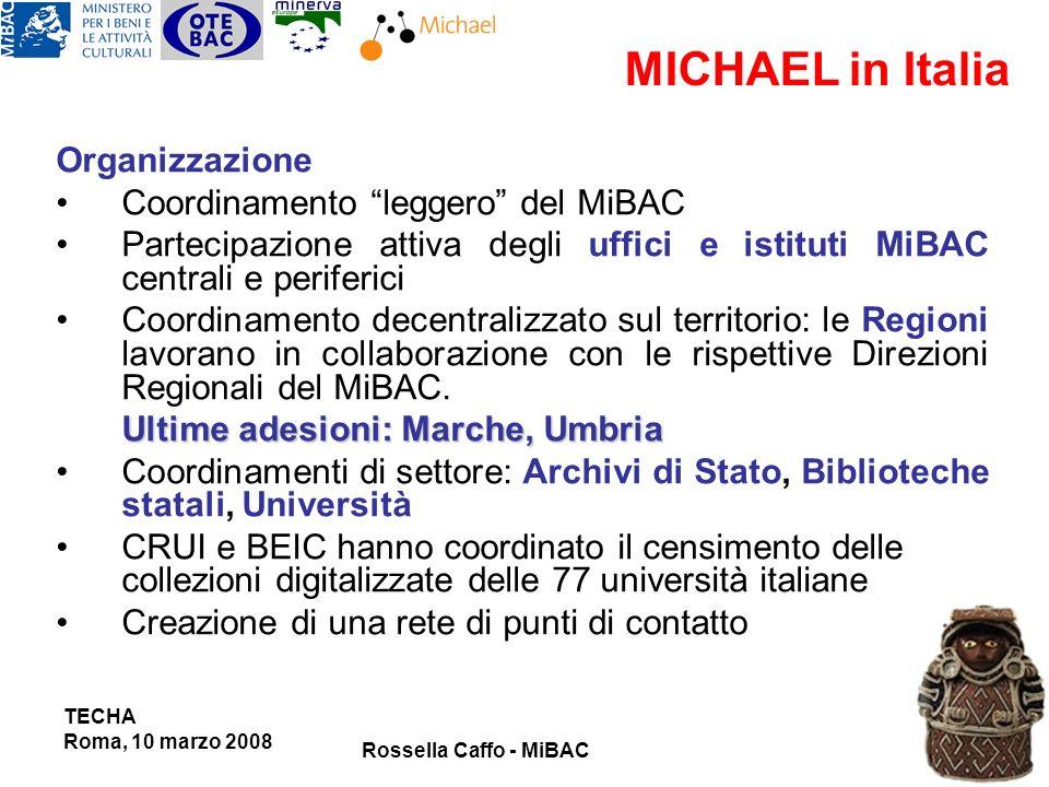 Organizzazione Coordinamento leggero del MiBAC Partecipazione attiva degli uffici e istituti MiBAC centrali e periferici Coordinamento decentralizzato sul territorio: le Regioni lavorano in collaborazione con le rispettive Direzioni Regionali del MiBAC.