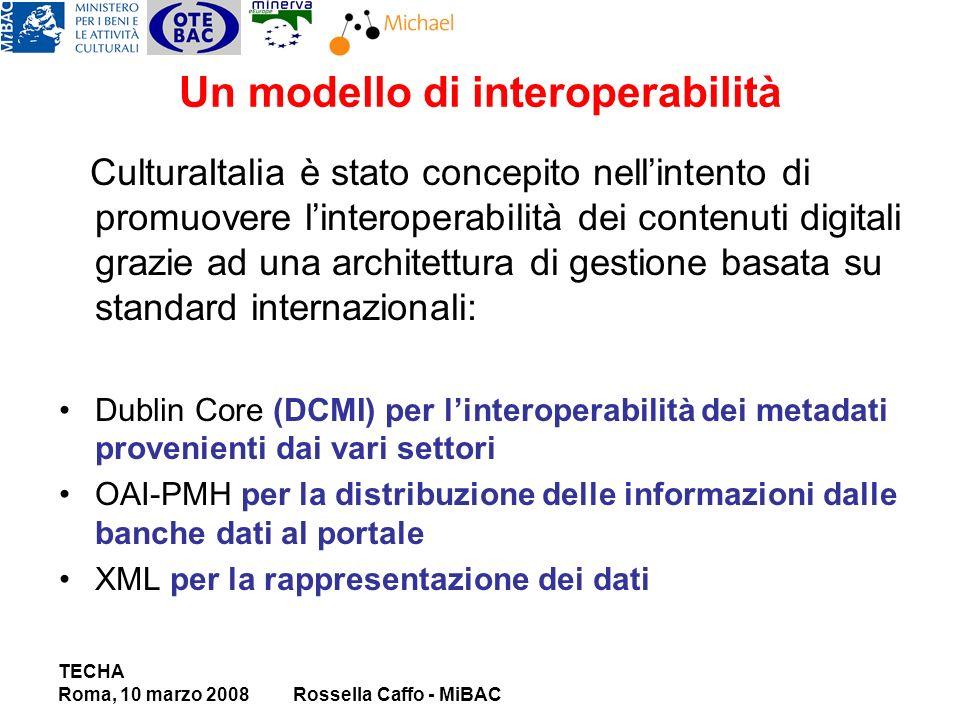 Un modello di interoperabilità CulturaItalia è stato concepito nellintento di promuovere linteroperabilità dei contenuti digitali grazie ad una architettura di gestione basata su standard internazionali: Dublin Core (DCMI) per linteroperabilità dei metadati provenienti dai vari settori OAI-PMH per la distribuzione delle informazioni dalle banche dati al portale XML per la rappresentazione dei dati TECHA Roma, 10 marzo 2008Rossella Caffo - MiBAC