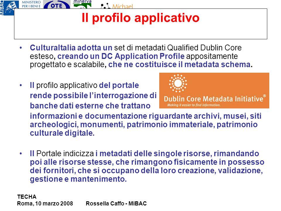 Il profilo applicativo CulturaItalia adotta un set di metadati Qualified Dublin Core esteso, creando un DC Application Profile appositamente progettato e scalabile, che ne costituisce il metadata schema.