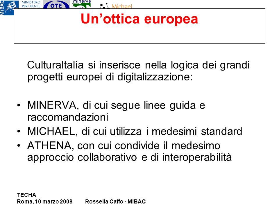 Unottica europea CulturaItalia si inserisce nella logica dei grandi progetti europei di digitalizzazione: MINERVA, di cui segue linee guida e raccomandazioni MICHAEL, di cui utilizza i medesimi standard ATHENA, con cui condivide il medesimo approccio collaborativo e di interoperabilità TECHA Roma, 10 marzo 2008Rossella Caffo - MiBAC