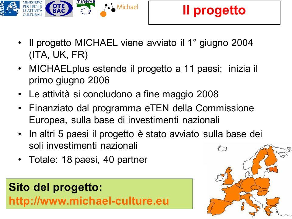 Il progetto Il progetto MICHAEL viene avviato il 1° giugno 2004 (ITA, UK, FR) MICHAELplus estende il progetto a 11 paesi; inizia il primo giugno 2006 Le attività si concludono a fine maggio 2008 Finanziato dal programma eTEN della Commissione Europea, sulla base di investimenti nazionali In altri 5 paesi il progetto è stato avviato sulla base dei soli investimenti nazionali Totale: 18 paesi, 40 partner Sito del progetto: http://www.michael-culture.eu