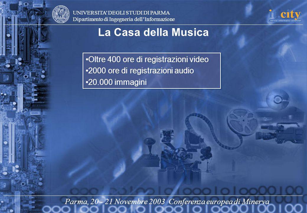 UNIVERSITA DEGLI STUDI DI PARMA Dipartimento di Ingegneria dellInformazione Parma, 20 - 21 Novembre 2003 Conferenza europea di Minerva Oltre 400 ore d