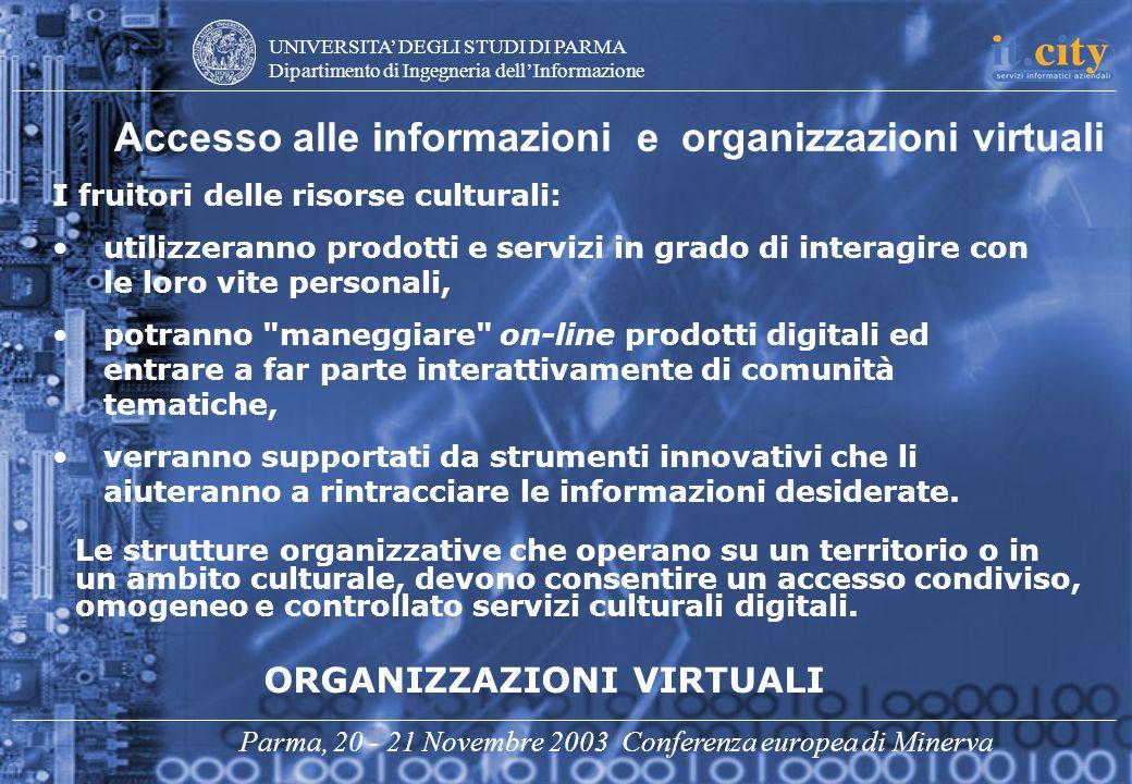 UNIVERSITA DEGLI STUDI DI PARMA Dipartimento di Ingegneria dellInformazione Parma, 20 - 21 Novembre 2003 Conferenza europea di Minerva Accesso alle in