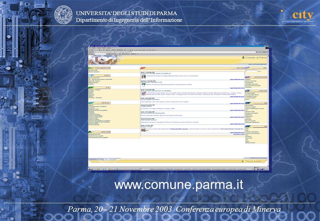 UNIVERSITA DEGLI STUDI DI PARMA Dipartimento di Ingegneria dellInformazione Parma, 20 - 21 Novembre 2003 Conferenza europea di Minerva www.comune.parm
