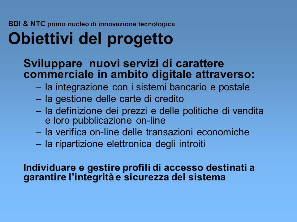BDI & NTC primo nucleo di innovazione tecnologica Obiettivi del progetto Sviluppare nuovi servizi di carattere commerciale in ambito digitale attraver